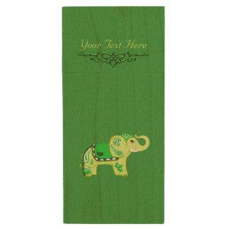 Henna Elephant (Green/Lime Green) Wood USB Flash Drive