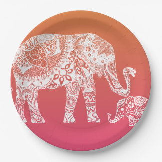 Henna Elephant - Indian Inspiration Paper Plate