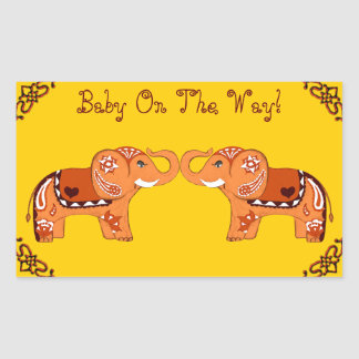 Henna Elephant (Orange/Red) (Baby Shower) Sticker