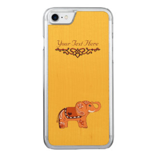 Henna Elephant (Orange/Red) Carved iPhone 7 Case