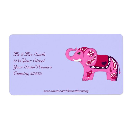 Henna Elephant (Pink/Purple)