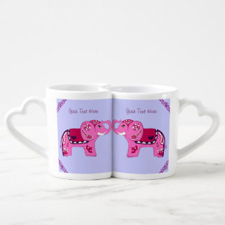 Henna Elephant (Pink/Purple) Coffee Mug Set