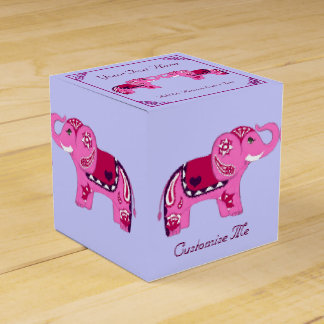 Henna Elephant (Pink/Purple) Favor Box