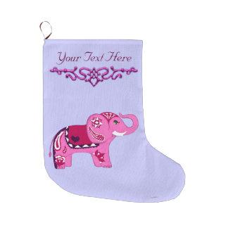 Henna Elephant (Pink/Purple) Large Christmas Stocking