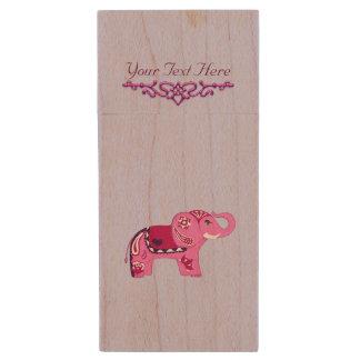 Henna Elephant (Pink/Purple) Wood USB Flash Drive