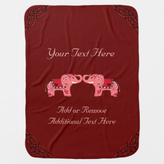 Henna Elephant (Red/Pink) Baby Blanket