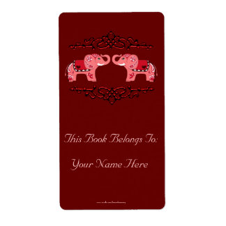 Henna Elephant (Red/Pink) Bookplate Shipping Label