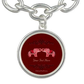 Henna Elephant (Red/Pink) Bracelet
