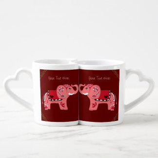 Henna Elephant (Red/Pink) Coffee Mug Set
