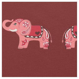 Henna Elephant (Red/Pink) Fabric