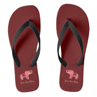 Henna Elephant (Red/Pink) Flip Flops