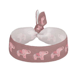 Henna Elephant (Red/Pink) Hair Tie