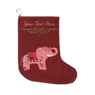 Henna Elephant (Red/Pink) Large Christmas Stocking
