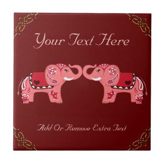 Henna Elephant (Red/Pink) Tile