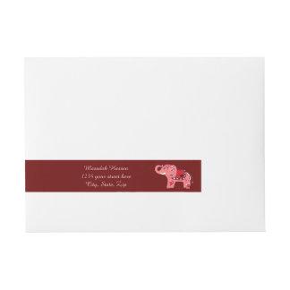 Henna Elephant (Red/Pink) Wraparound Address Label
