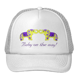 Henna Elephant (Yellow/Purple) (Baby Shower) Trucker Hat