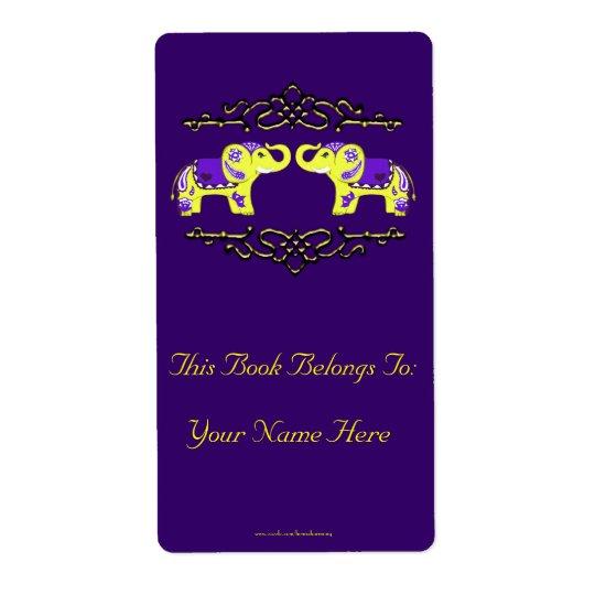 Henna Elephant (Yellow/Purple) Bookplate