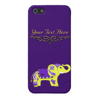 Henna Elephant (Yellow/Purple) Case For The iPhone 5