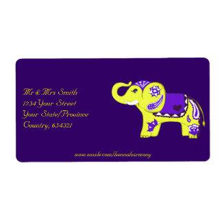 Henna Elephant (Yellow/Purple) Shipping Label