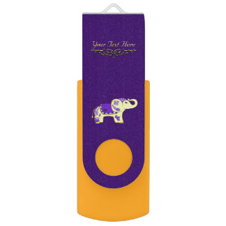 Henna Elephant (Yellow/Purple) USB Flash Drive