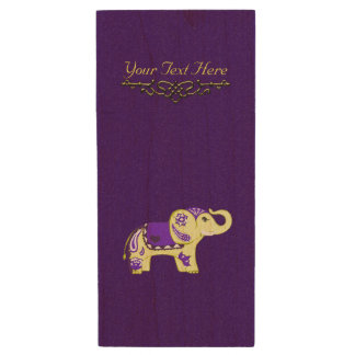 Henna Elephant (Yellow/Purple) Wood USB Flash Drive