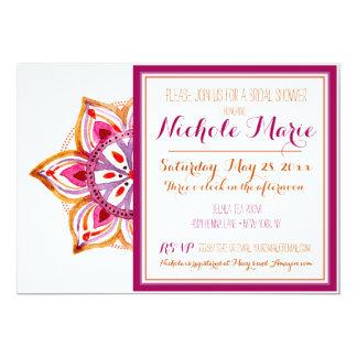 Henna Flower Bridal Shower Invitation Fuschia
