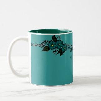 Henna Flower (Teal) Two-Tone Coffee Mug