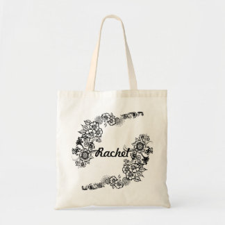 Henna Flowers Tote Bag with customisable name