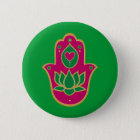 Henna Hamsa Lotus Green & Pink 2 Inch Round Button