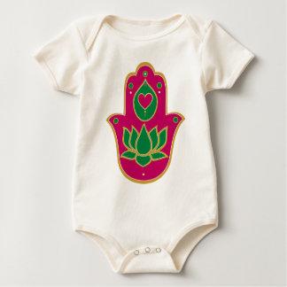 Henna Hamsa Lotus Green & Pink Baby Bodysuit