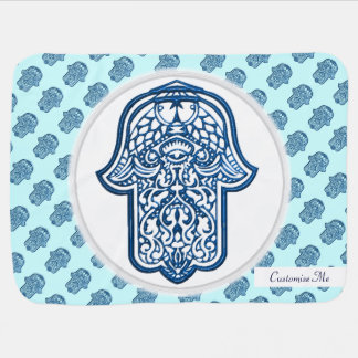 Henna Hand of Hamsa (Blue) Baby Blanket