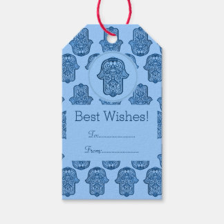 Henna Hand of Hamsa (Blue) Pack Of Gift Tags