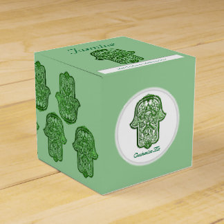 Henna Hand of Hamsa (Green) Favor Boxes