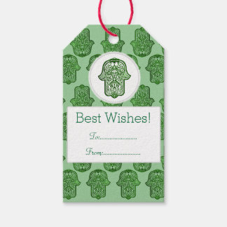 Henna Hand of Hamsa (Green) Pack Of Gift Tags
