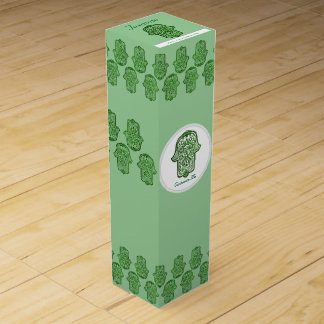 Henna Hand of Hamsa (Green) Wine Box