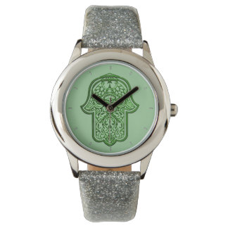 Henna Hand of Hamsa (Green) Wrist Watch
