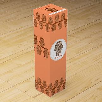 Henna Hand of Hamsa (Orange) Wine Bottle Boxes