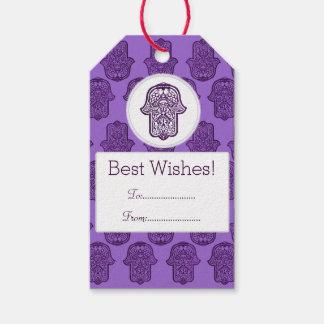 Henna Hand of Hamsa (Purple) Pack Of Gift Tags