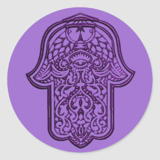 Henna Hand of Hamsa (Purple) Round Sticker
