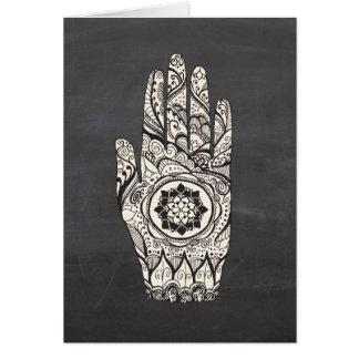 Henna Hand Tattoo With Lotus Flower Card