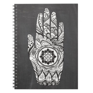 Henna Hand Tattoo With Lotus Flower Notebooks