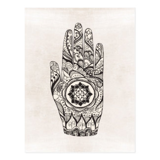 Henna Hand Tattoo With Lotus Flower Postcard