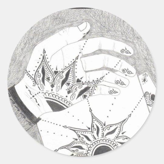 Henna in progress classic round sticker