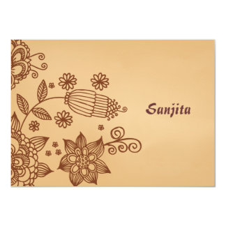 "Henna Inspiration Personalized Stationery Notecard 4.5"" X 6.25"" Invitation Card"