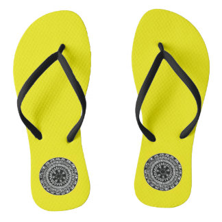 Henna inspired circle design flip flops yellow