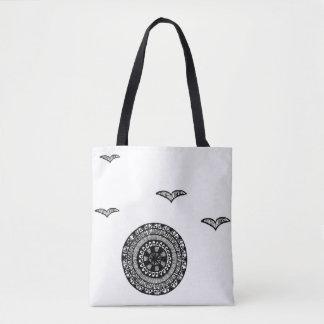 Henna inspired circle design tote