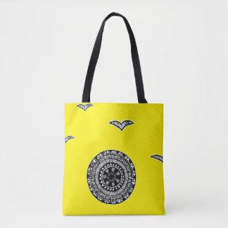 Henna inspired circle design tote yellow