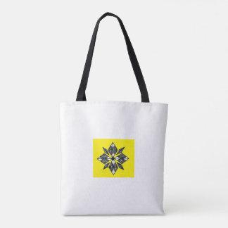 Henna inspired diamond design tote yellow white