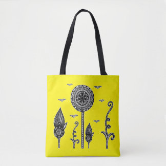 Henna inspired magical forest tote yellow