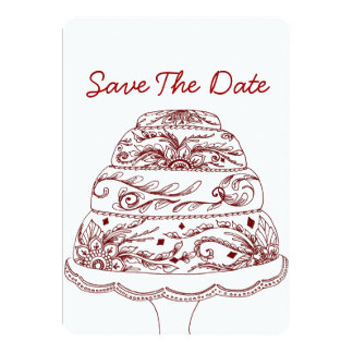 Henna Mehndi Cake Invitation Save the Date